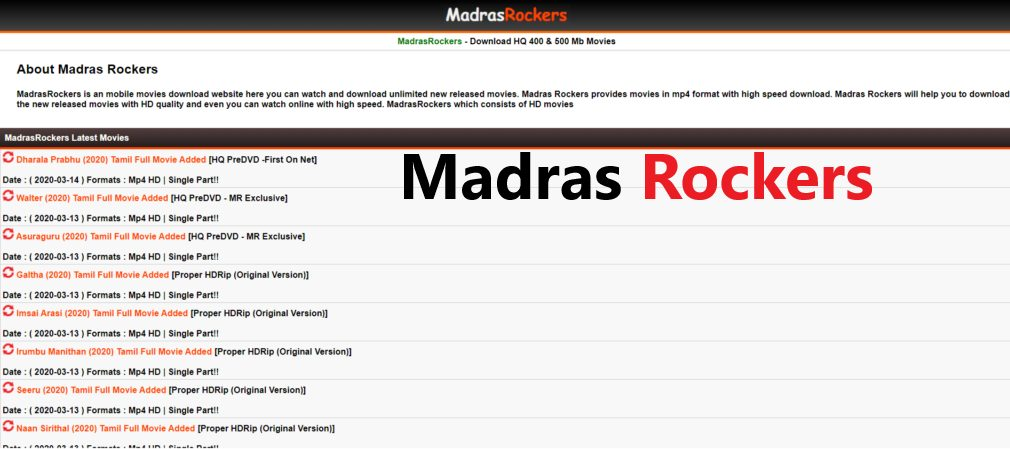 Madras Rockers 2020 - Download Latest Tamil & Telugu Movies In HD – Watch  Movies Online